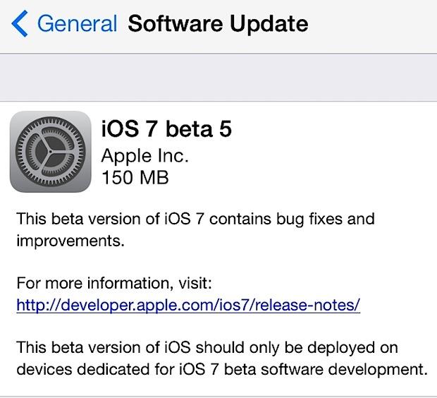 iOS 7 beta 5 downloading as OTA