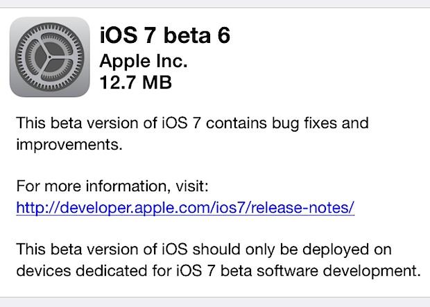 iOS 7 beta 6 download