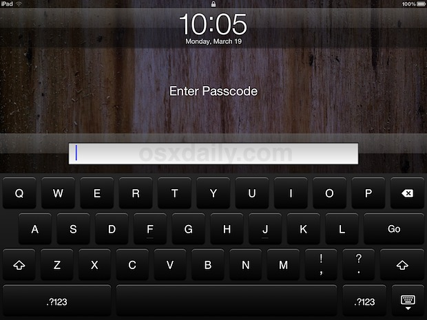iPad lock screen with a complex passcode