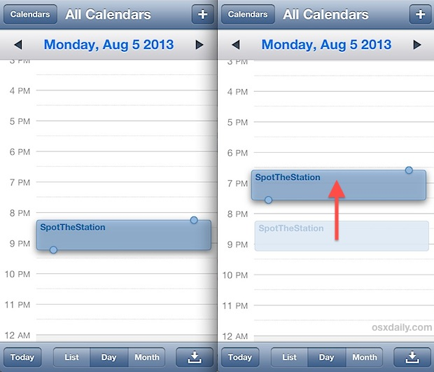 Move event and appointment times quickly in iOS Calendar