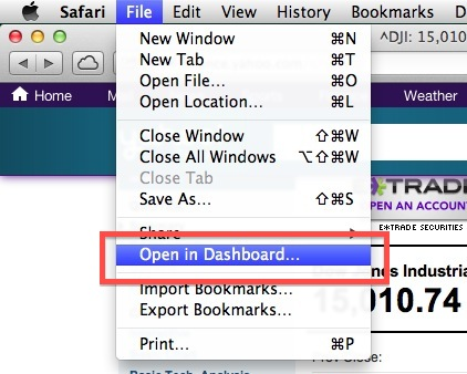 Open in Dashboard to make a widget for OS X