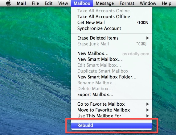 Rebuild Mailbox in Mac Mail app
