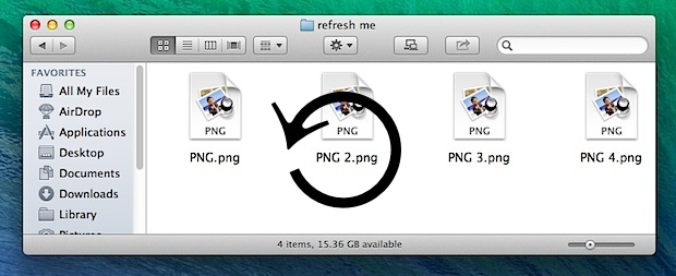 Refresh Finder windows in Mac OS X