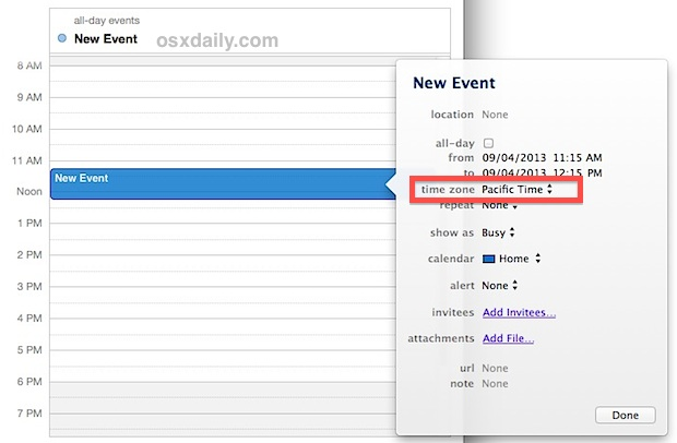 Set the Time Zone for an event in Calendar for OS X