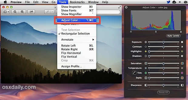 Adjust Color tool panel in Preview lets you adjust color