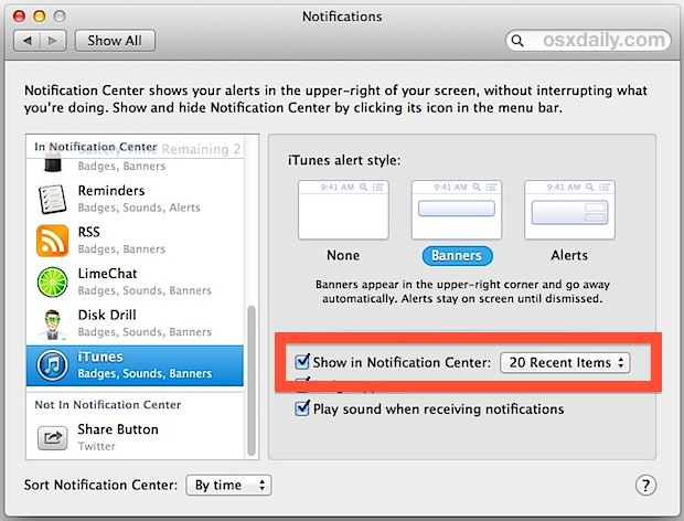 Adjust the song count of Notifications in iTunes