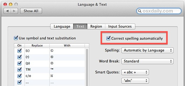 Auto correct spelling in Mac OS X