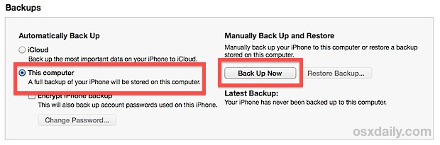 Back up iPhone to computer with iTunes