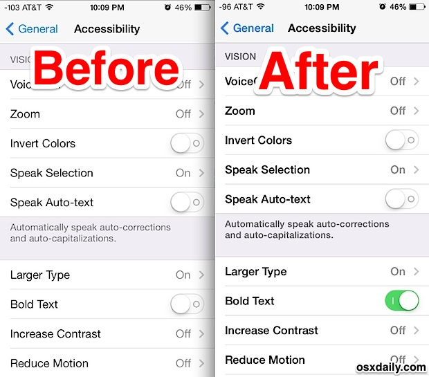 Find The Ios Font Hard To Read Make It Easier To Read With Bolder Text Osxdaily
