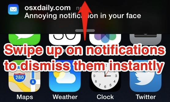 Dismiss Notifications instantly with a swipe up
