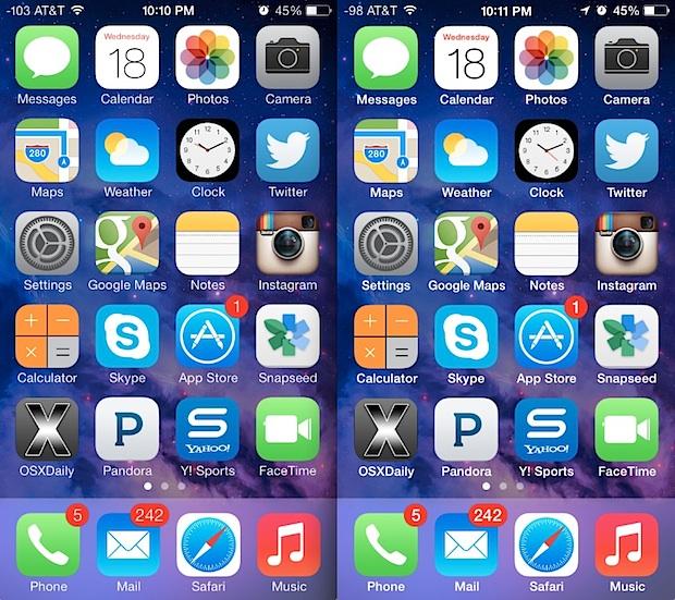 Fonts on the home screen are easier to read after bolding text in iOS 7