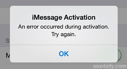 Fixing an iMessage Activation error