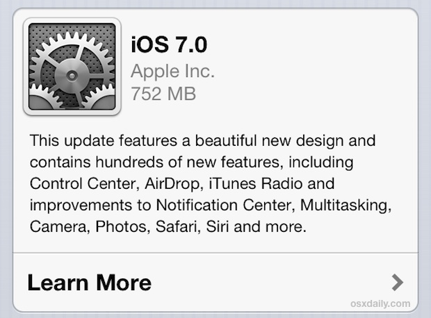 iOS 7 Update available now through OTA download