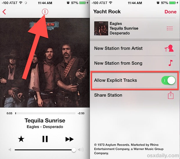 iTunes Radio explicit lyrics filter in iOS