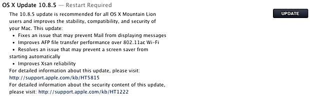 OS X 10.8.5 update