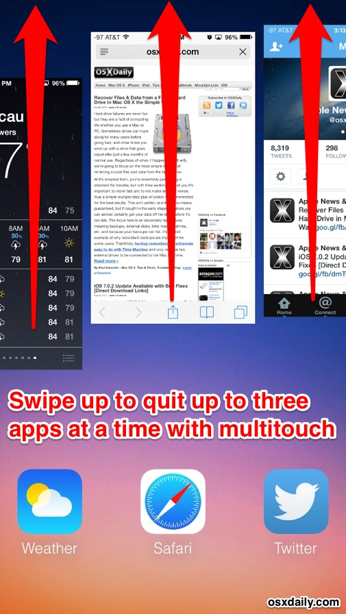 Quit multiple apps in iOS 7, iOS 8 and iOS 9 with multitouch