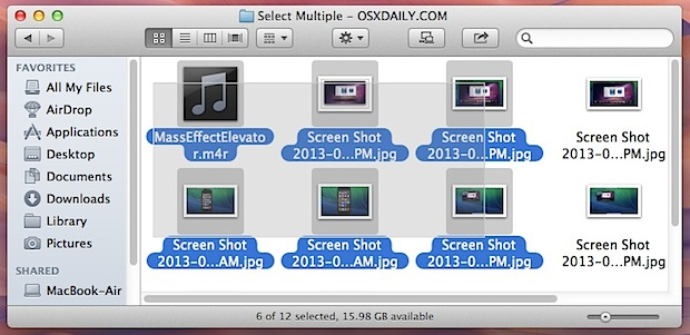 Selecting file groups with a Click and Drag in Mac OS X