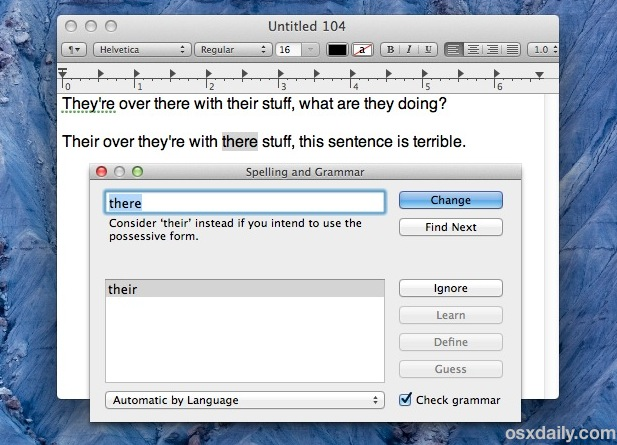 The Spelling and grammar tool in Mac OS X