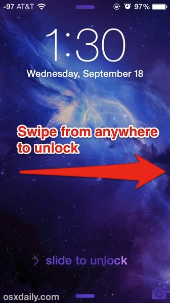 Swipe from anywhere to unlock iOS 7