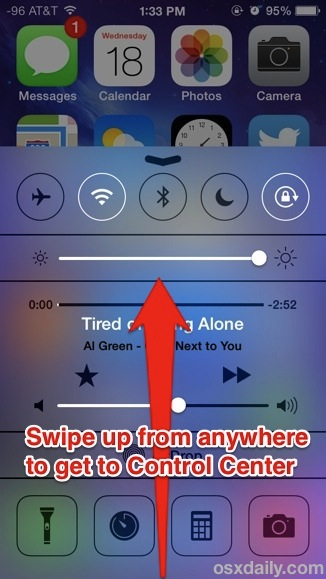Swipe up for Control Center in iOS 7