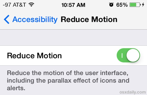 Turn On Reduce Motion Effects