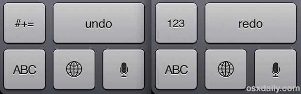 Undo and Redo buttons on iPad