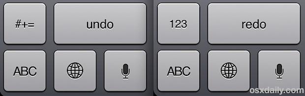 Undo and Redo buttons on iPad