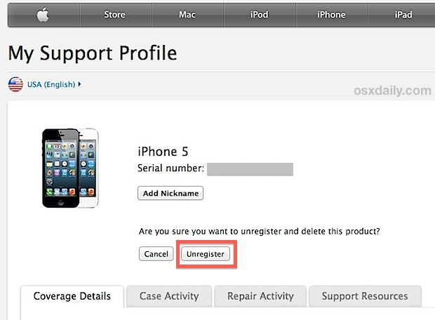 Unregister the iPhone with Apple