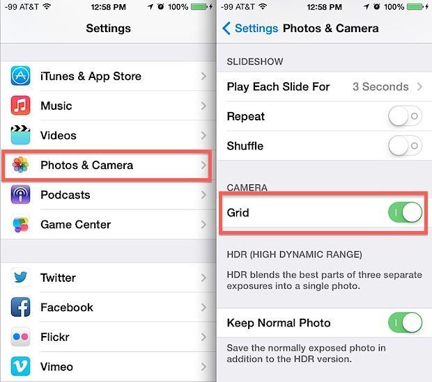 Toggling the Camera grid in iOS 7