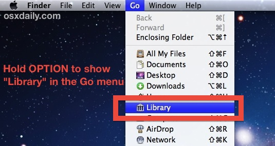 Access the Library folder through the Go menu in OS X