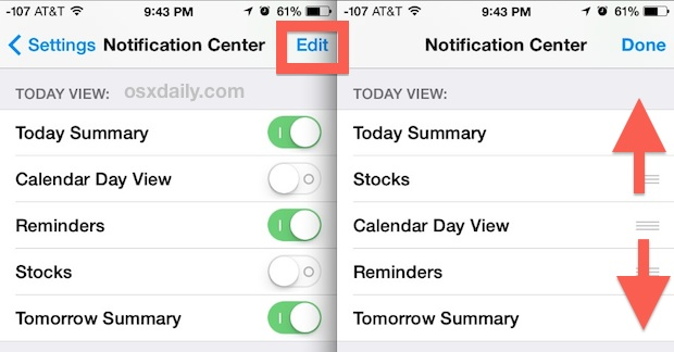 Adjust Today View details and arrangement in iOS