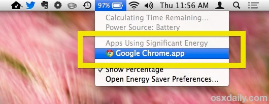 Find apps using energy with the menu bar