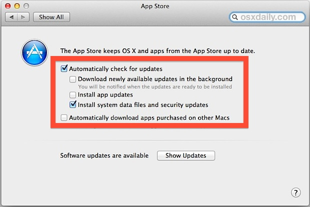 Automatic App & System Updates in Mac OS X
