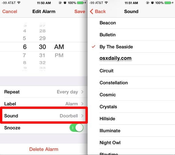 Change the sound of the alarm clock on iPhone and iPad