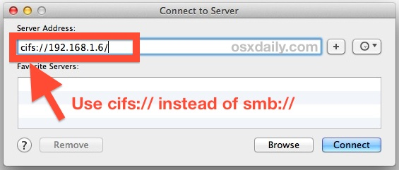 Connect to SMB NAS shares in OS X Mavericks