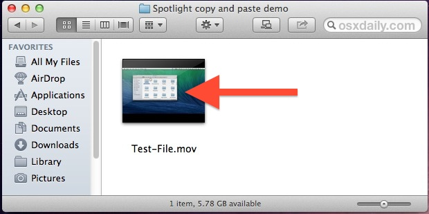 A file copied from Spotlight in a Finder window