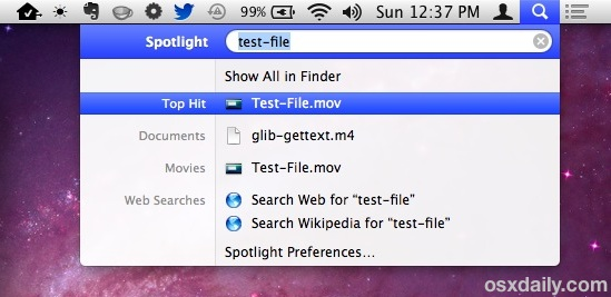 Copy a file from Spotlight in Mac OS X