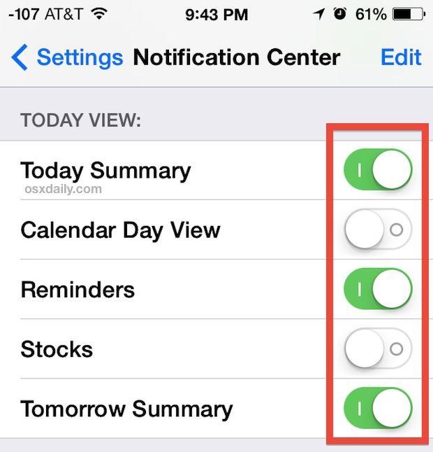 Customize Today View in Notification Center for iOS