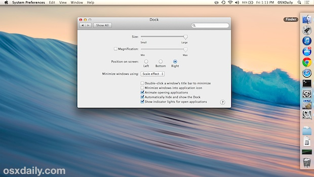 Dock on the right side of the Mac screen