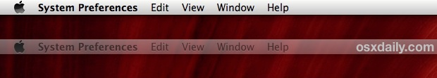 External display menu bar in OS X Mavericks functions as focus indicator