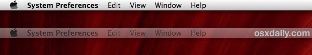 External display menu bar in OS X Mavericks functions as focus indicator