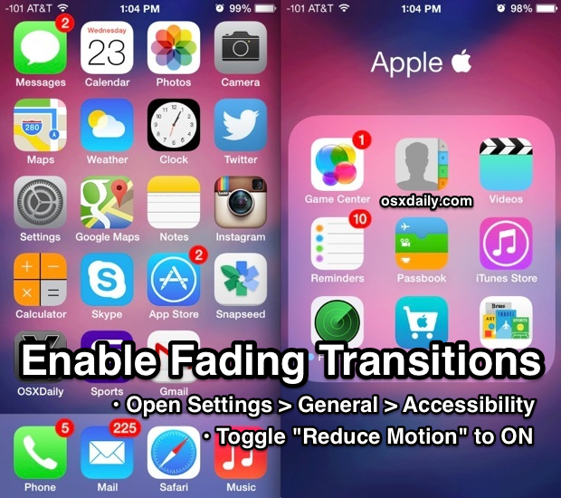 How to enable fading transition effects in iOS