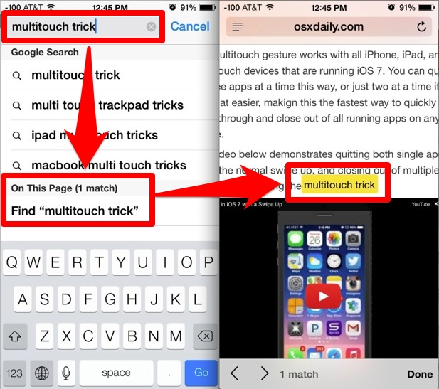 Search For Text On A Web Page In Safari With Ios 8 And Ios 7 Osxdaily