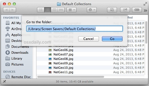 Go to the hidden wallpaper folder in Mac OS  X