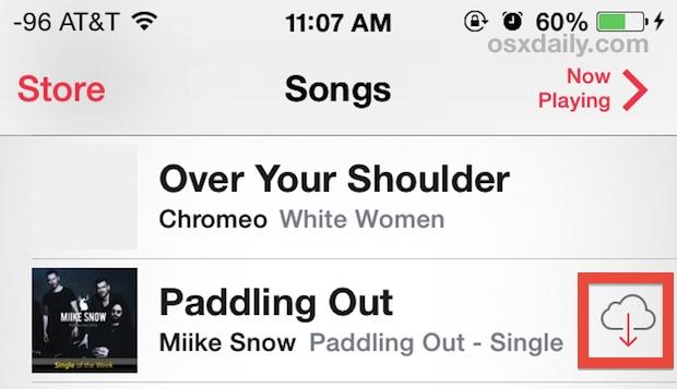 iCloud songs showing up in Music app on iOS