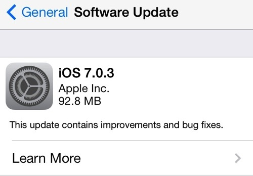 iOS 7.0.3 download shown as OTA Update