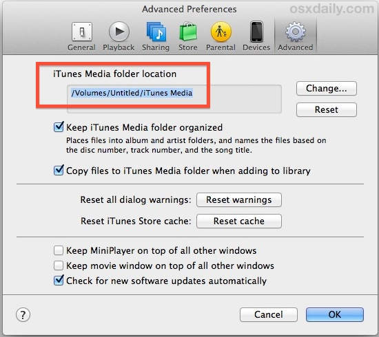 iTunes Library on an external drive