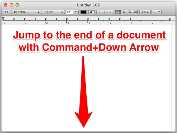 Keystroke for the end of a document in Mac OS X