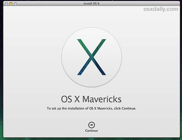 Begin the Mavericks clean install