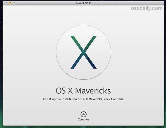 Begin the Mavericks clean install